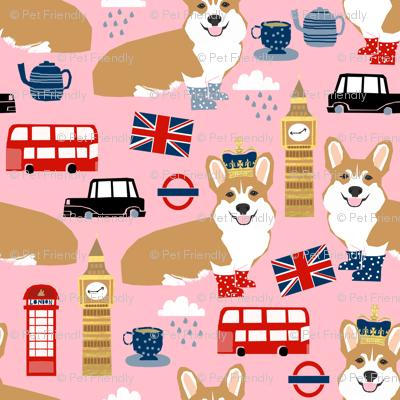 corgi in london - british corgi design wellingtons fabric london bus - pink