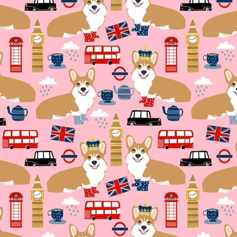 corgi in london - british corgi design wellingtons fabric london bus - pink fabric by petfriendly on Spoonflower - custom fabric