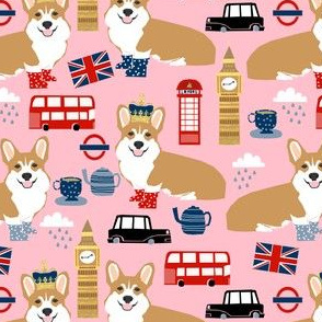 corgi in london - british corgi design wellingtons fabric london bus - pink