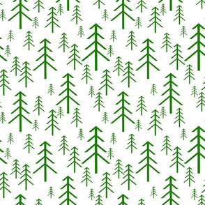 Winter Trees Green on White