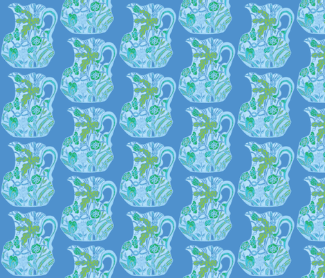 Third Tier Pastel Pitcher Turquoise Sky Blue Light Blue Lime fabric by serendipity_textiles on Spoonflower - custom fabric
