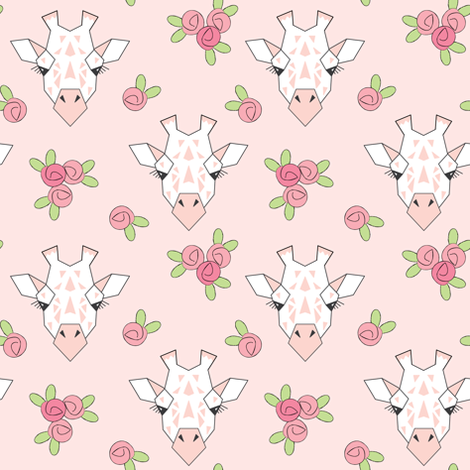 small giraffe-and-roses-on-soft-pink fabric by lilcubby on Spoonflower - custom fabric