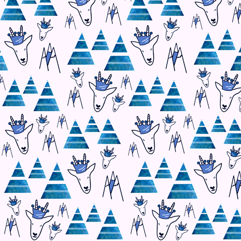 Majestic White Mountain Goats sewindigo fabric by sewindigo on Spoonflower - custom fabric