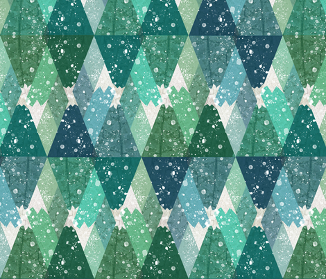 Winter - Alpine Wilderness Snowy Mountains fabric by clairekalinadesigns on Spoonflower - custom fabric