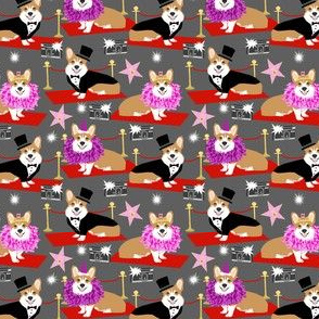 Corgi fashion show red carpet hollywood movie star corgis fabric
