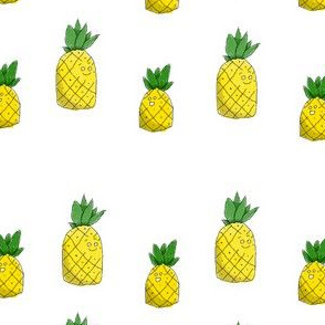 pineapples  on white background
