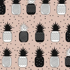 pineapples - geometric pineapples ananas blush dusty pink black and white, tropical fruit