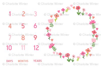 "54"" x 36"" flowers and hearts baby milestone blanket girls baby girl fabric"