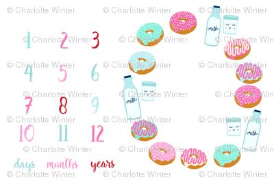 "54"" x 36"" donuts and milk milestone blanket baby blanket photo prop"