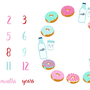 "54"" x 36"" donuts and milk milestone blanket baby blanket photo prop"
