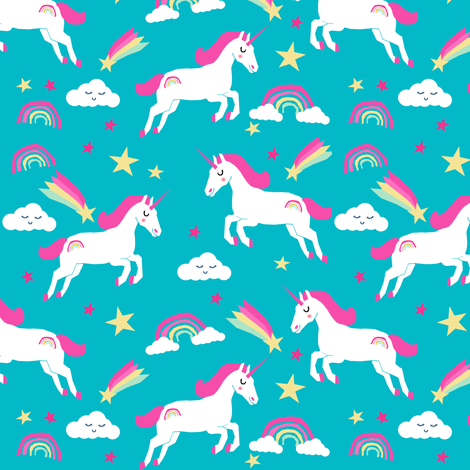 unicorn bright colors fabric rainbow clouds stars cute girls unicorn fabric turquoise fabric by charlottewinter on Spoonflower - custom fabric