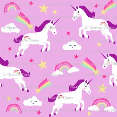 unicorn bright colors fabric rainbow clouds stars cute girls unicorn fabric purple