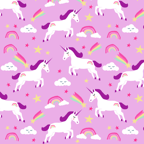 Rainbow Unicorn Wallpapers Bright Colors Fabric Clouds Stars Cute