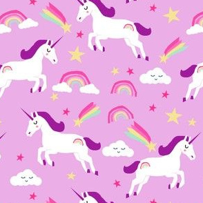 unicorn bright colors fabric rainbow clouds stars cute girls unicorn fabric purple