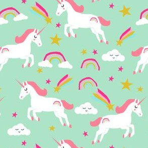 unicorn bright colors fabric rainbow clouds stars cute girls unicorn fabric mint