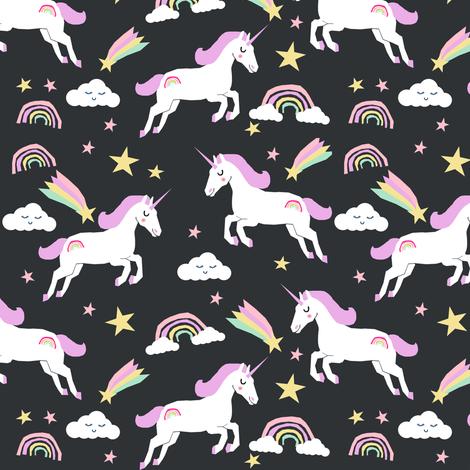 unicorn bright colors fabric rainbow clouds stars cute girls unicorn fabric pastel fabric by charlottewinter on Spoonflower - custom fabric