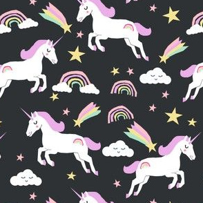 unicorn bright colors fabric rainbow clouds stars cute girls unicorn fabric pastel