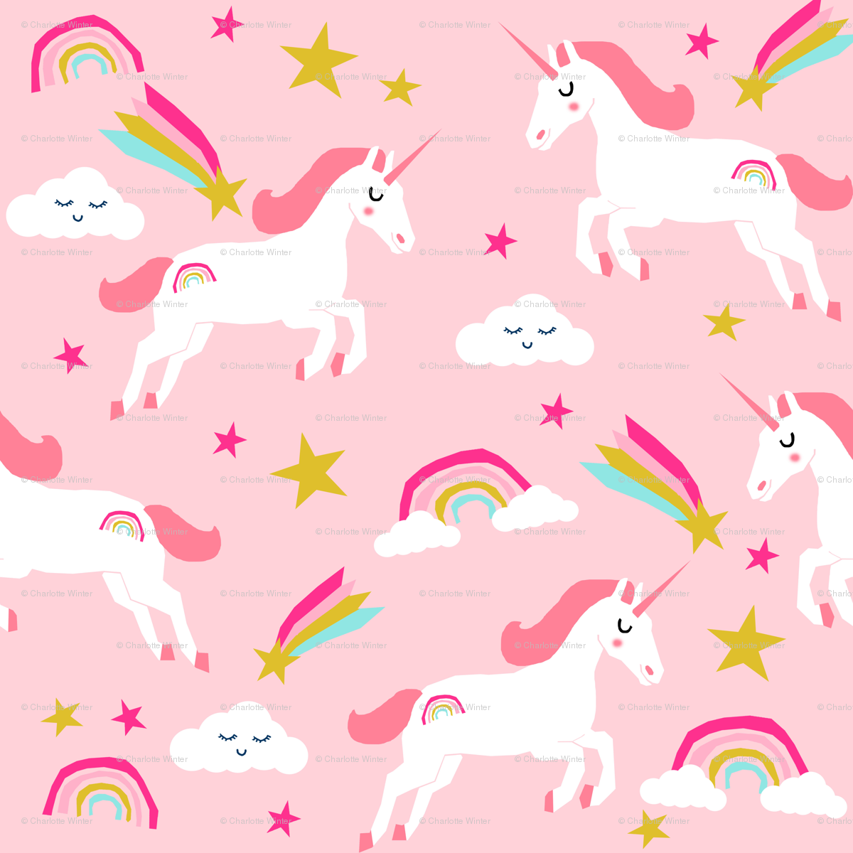 Unicorn Bright Colors Fabric Rainbow Clouds Stars Cute Girls Pink Wallpaper