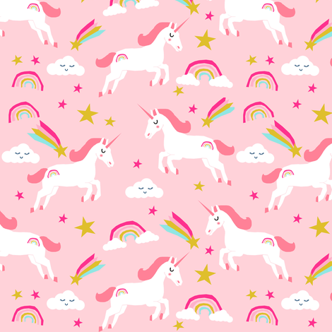 unicorn bright colors fabric rainbow clouds stars cute girls unicorn fabric pink fabric by charlottewinter on Spoonflower - custom fabric