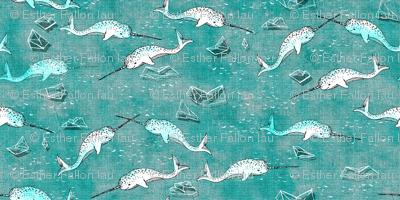 Narwhal Symphony (aqua) SMALL