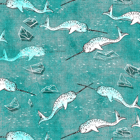 Narwhal Symphony (aqua) SMALL fabric by nouveau_bohemian on Spoonflower - custom fabric