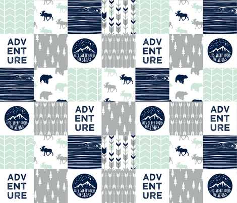 Adventure Wholecloth  || Northern lights patchwork fabric by littlearrowdesign on Spoonflower - custom fabric