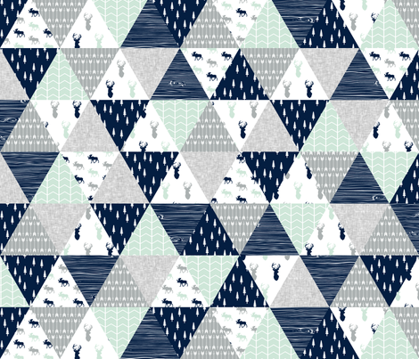 the northern lights triangle wholecloth (buck and moose) woodland quilt top fabric by littlearrowdesign on Spoonflower - custom fabric
