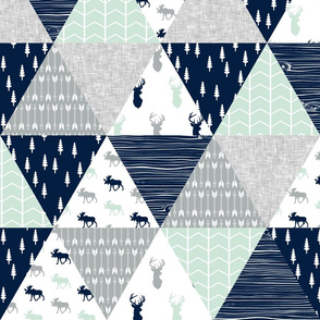 the northern lights triangle wholecloth (buck and moose) woodland quilt top