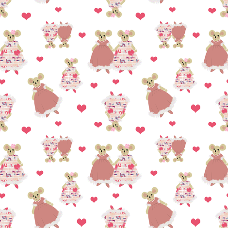 Best Friends, hearts and mice fabric by karenharveycox on Spoonflower - custom fabric