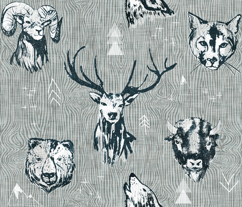 mountain beasts (LARGE) fabric by nouveau_bohemian on Spoonflower - custom fabric