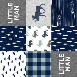 Little Man Patchwork (navy and dusty blue) (90)- grey