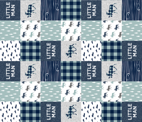 Little Man Patchwork (navy and dusty blue) (90) - navy fabric by littlearrowdesign on Spoonflower - custom fabric