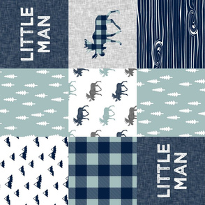 Little Man Patchwork (navy and dusty blue) (90) - navy