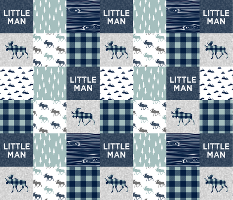 Little Man Patchwork (navy and dusty blue) - navy fabric by littlearrowdesign on Spoonflower - custom fabric