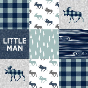 Little Man Patchwork (navy and dusty blue) - navy