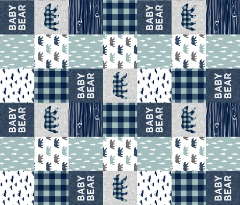 Baby bear patchwork quilt top (navy and dusty blue) (90) - navy fabric by littlearrowdesign on Spoonflower - custom fabric