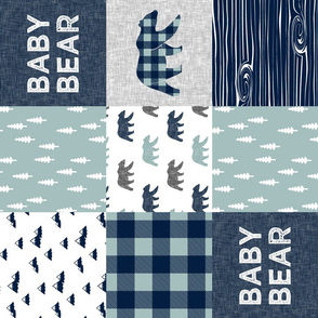 Baby bear patchwork quilt top (navy and dusty blue) (90) - navy