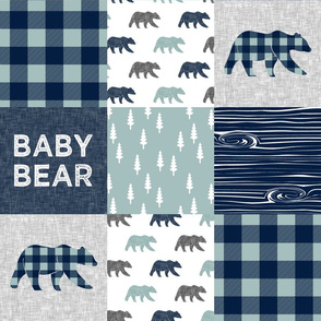 Baby bear patchwork quilt top (navy and dusty blue) - navy