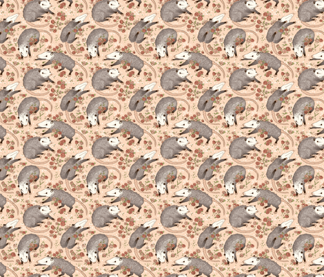 Opossums and Roses fabric by poodlewool on Spoonflower - custom fabric