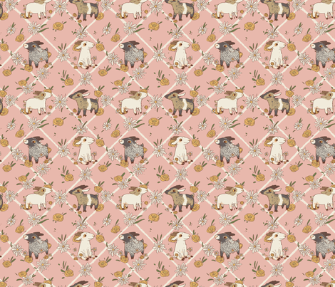 Goats, Daisies, and Yellow Roses fabric by poodlewool on Spoonflower - custom fabric