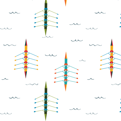 Rowing on the Charles river  fabric by agathests on Spoonflower - custom fabric