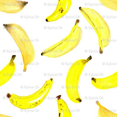 Bananas Watercolour on White