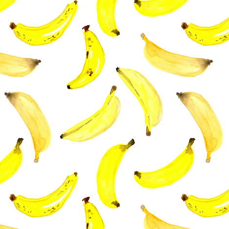 Bananas Watercolour on White fabric by sylviaoh on Spoonflower - custom fabric