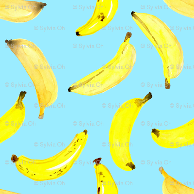 Bananas Watercolour on Blue