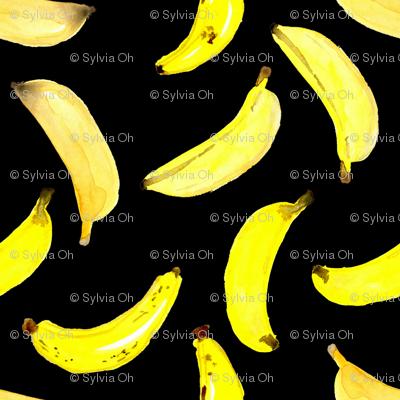 Banana Watercolour on Black