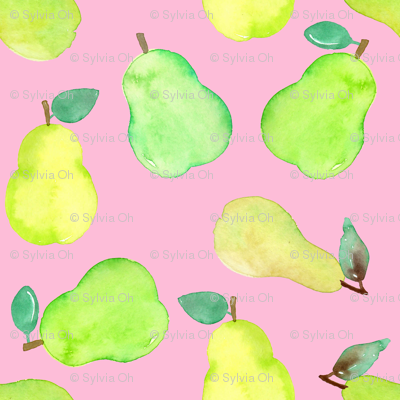 Pear Watercolour on Pink