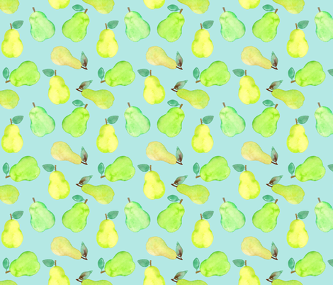 Pear Watercolour on mint fabric by sylviaoh on Spoonflower - custom fabric