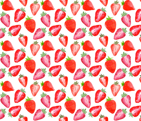 Strawberries Red Watercolour on white fabric by sylviaoh on Spoonflower - custom fabric