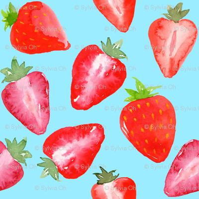 Strawberries Red Watercolour on blue