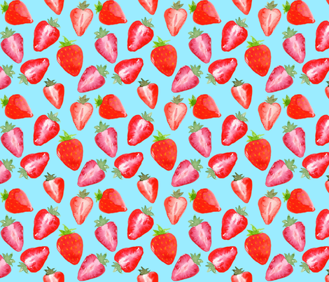 Strawberries Red Watercolour on blue fabric by sylviaoh on Spoonflower - custom fabric